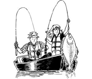 Папа с дочкой ловят рыбу