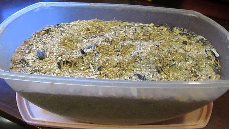 Молотые семечки или жмых подсолнечника для прикормки.